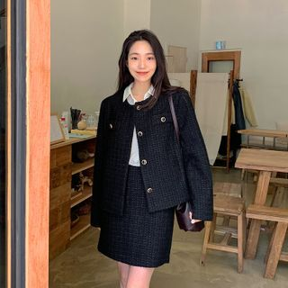 FROMBEGINNING - Tweed Zip-Back Miniskirt