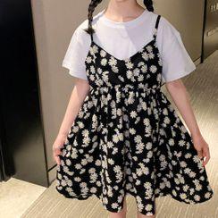 Spring Foresta - 小童假兩件短袖碎花連衣裙