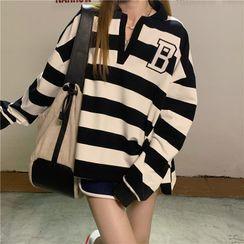 Fabricino - Lettering Print Striped Open-Placket Sweatshirt