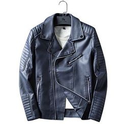 Carser - Faux-Leather Biker Jacket