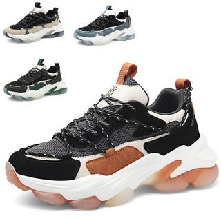 WeWolf - Color Block Mesh Panel Lace-Up Athletic Sneakers