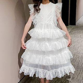 Hobab - Kids Sleeveless Midi A-Line Tiered Mesh Dress