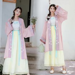 Tangier - Set of 3: Embroidered Hanfu Long Light Jacket + Camisole + Tie-Waist Maxi Skirt