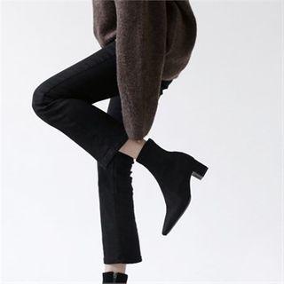 MONOBARBI - Block-Heel Faux-Suede Ankle Boots