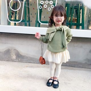 Blue Papa - Kids Plain Sweater / Knit Scarf