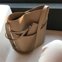 TZ - Faux Leather Bucket Bag / Zip Pouch / Wristlet / Set