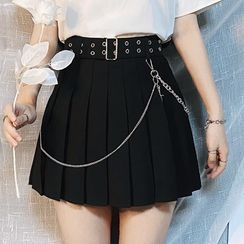 Miu B - Belted Pleated A-Line Skirt