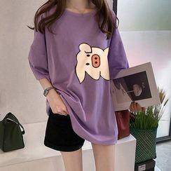 Glaypio - Elbow-Sleeve Pig Print T-Shirt