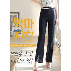 Styleonme - Flat-Front Boot-Cut Pants