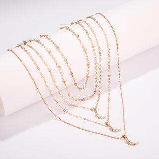 Yongge - Rhinestone Moon Pen Layered Necklace