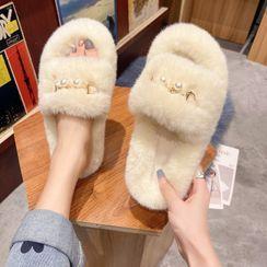 Vindler(ヴィンドラー) - Faux Pearl Fluffy Slippers