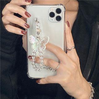Chatarine - Butterfly Hand Chain Transparent Phone Case - iPhone 12 Pro Max / 12 Pro / 12 / 12 mini / 11 Pro Max / 11 Pro / 11 / SE / XS Max / XS / XR / X / SE 2 / 8 / 8 Plus / 7 / 7 Plus