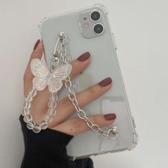 Chatarine - Butterfly Hand Chain Transparent Phone Case - iPhone 12 Pro Max / 12 Pro / 12 / 12 mini / 11 Pro Max / 11 Pro / 11 / SE / XS Max / XS / XR / X / SE 2 / 8 / 8 Plus / 7 / 7 Plus