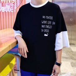 Wescosso - Lettering Elbow-Sleeve Top