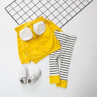 MOM Kiss - Kids Set: Bear Ear Hoodie + Striped Pants