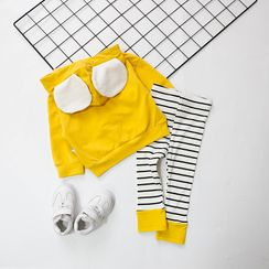 MOM Kiss - Kids Set: Bear Ear Hoodie + Striped Pants