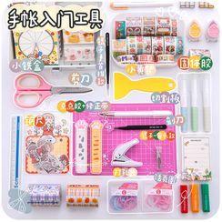 Momoi - Set: Paper Trimmer + Correction Tape + Utility Knife + Scissors + Ring Binder + Cutting Mat + Hole Punch + Glue Stick + Tweezers