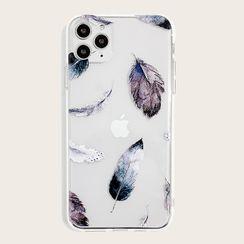 Fortine - Feather Print Transparent Phone Case - iPhone 12 Pro Max / 12 Pro / 12 / 12 mini / 11 Pro Max / 11 Pro / 11 / SE / XS Max / XS / XR / X / SE 2 / 8 / 8 Plus / 7 / 7 Plus