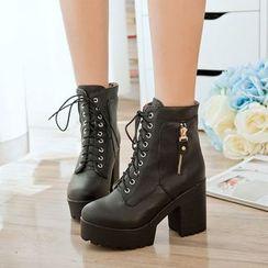 佳美 - 粗跟系带靴