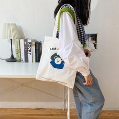 TangTangBags - Bear Print Canvas Tote Bag