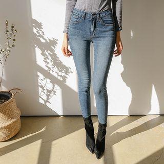 DABAGIRL - [THE DENIM] Fleece Lined Washed Skinny Jeans