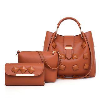 BAGSHOW - Set: Faux-Leather Shoulder Bag + Crossbody Bag + Clutch