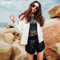 MOFFI - Fray Hem Denim Jacket