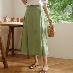 JUSTONE(ジャストワン) - Pintuck Windbreaker Long Flare Skirt