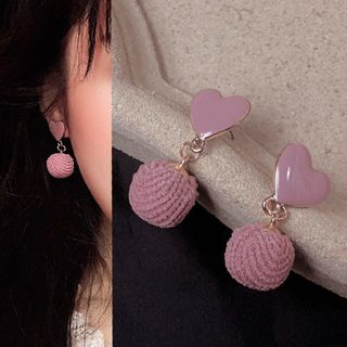 PO!NY STUDIO  - Heart Pom Pom Drop Earring