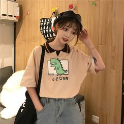 Elle Sun - Elbow-Sleeve Printed Polo Shirt
