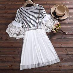Fancy Show - Short-Sleeve Mock Two-Piece A-Line Dress