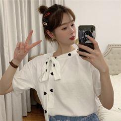 Sisyphi - Heart Tie Neck  Short-Sleeve T-Shirt