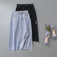 Googarden - Distressed Midi A-Line Denim Skirt