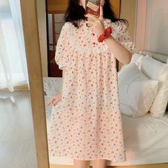 Noviril - Puff-Sleeve Ruffled Print Sleep Dress