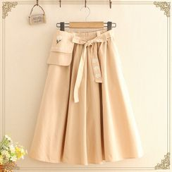 Kawaii Fairyland - Daisy Embroidered Tie-Waist A-Line Midi Skirt