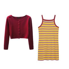 ANNIE'S TOWN - 薄款开衫 / 细肩带迷你条纹连衣裙