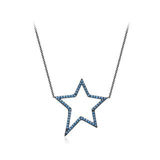 BELEC - Fashion Simple Hollow Star Necklace with Blue Cubic Zirconia