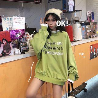 Carmenta - Mock Two-Piece Lettering Sweatshirt