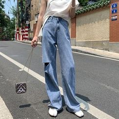 Maple Breeze - Ripped Wide-Leg Jeans