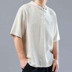 Sparrow Farm - Elbow-Sleeve Hooded Shirt