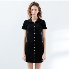 Chatose - Short-Sleeve Ribbed Knit Polo Dress