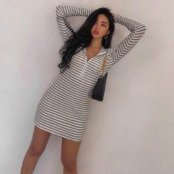 LIPHOP - Hooded Zip-Front Striped Mini Dress