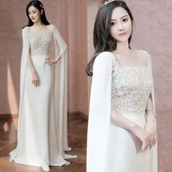 Sennyo - Slit-Sleeve Square Neck Lace Panel A-Line Evening Gown