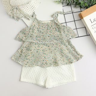 Cuckoo - Kids Set: Floral Camisole Top + Shorts + Hat