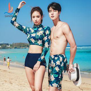 SANQI - Couple Matching Floral Rash Guard / Shorts / Set