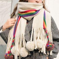 Frior - 彩虹条纹毛毛球流苏围巾