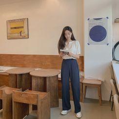 CHERRYKOKO - Zip-Side Linen Blend Pants