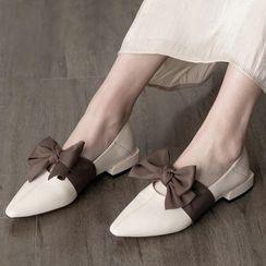 JY Shoes - Ribbon Pointy-Toe Flats