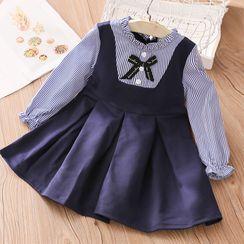 贝壳童装 - 儿童长袖条纹拼接A字迷你连衣裙