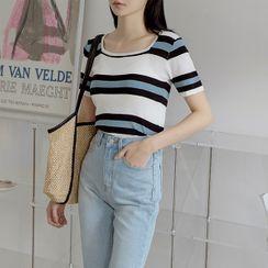 NAIN - Square-Neck Stripe Knit Top